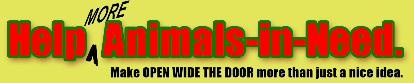 Help more Animals-in-Need. Make Open Wide the Door more than just a nice idea.